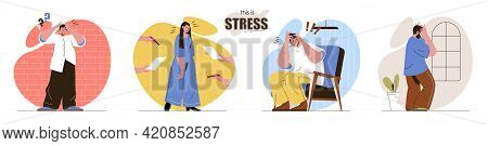 This Is Stress Concept Scenes Set. Exhausted Men And Women Going Through Crisis Time. Negative Emoti