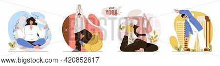 Your Yoga Concept Scenes Set. Men And Women Practice Asanas, Training Body, Relax And Meditate In Lo