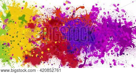 Composition of paint splashes in vibrant pink, purple, red, yellow and green colours on white. colour and creativity concept digitally generated image.