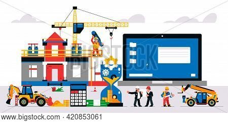 The Website Is Under Construction. Technical Work, Error Page. Construction Site, Machinery, Builder