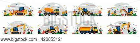 A Set Of Construction Equipment And Workers On The Site. Colorful Background Of Geometric Shapes And