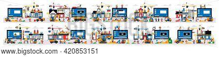 Set Of Illustrations, Website Under Construction. Technical Work, Error Page. Website Construction S