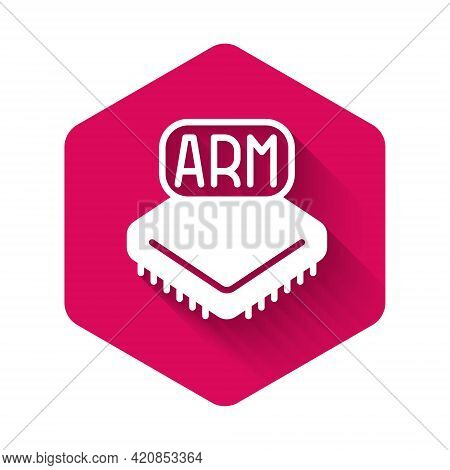 White Processor Icon Isolated With Long Shadow Background. Cpu, Central Processing Unit, Microchip,