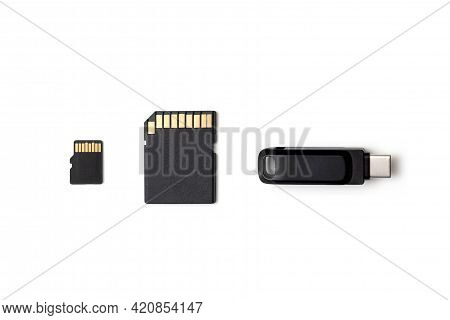 Multiple Storage Devices, Pendrive, Memory Cards Isolated Top View