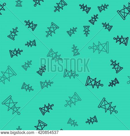 Black Line Electric Tower Used To Support An Overhead Power Line Icon Isolated Seamless Pattern On G