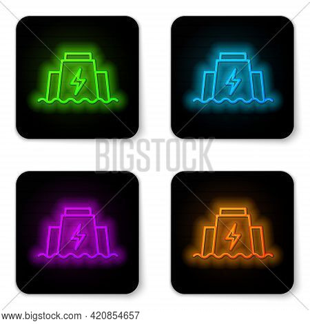 Glowing Neon Line Hydroelectric Dam Icon Isolated On White Background. Water Energy Plant. Hydropowe