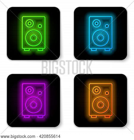 Glowing Neon Line Stereo Speaker Icon Isolated On White Background. Sound System Speakers. Music Ico