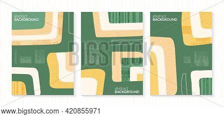 Set Of Abstract Shapes Green Field From Aerial View. Minimalist Summer Field Landscape Poster Collec