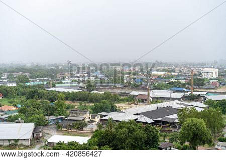 Raining Time At Pattaya City (chonburi Province) Landscape From Drone View In The Open Sky With The