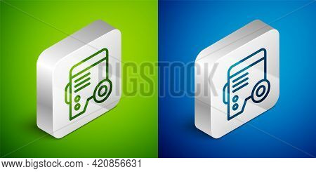 Isometric Line Portable Power Electric Generator Icon Isolated On Green And Blue Background. Industr