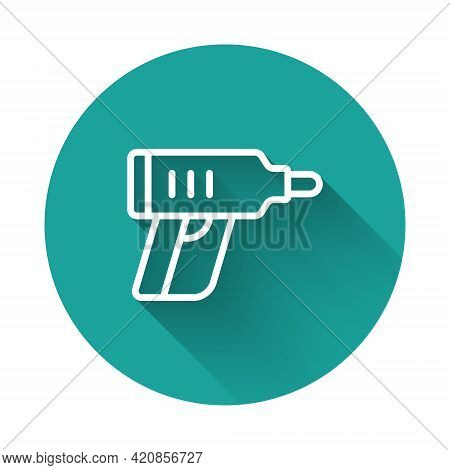 White Line Electric Cordless Screwdriver Icon Isolated With Long Shadow Background. Electric Drill M