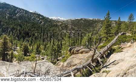 Panoramic view of Stanislaus National forest and Sierra Nevada mountains on the route 80 from California to Nevada, USA