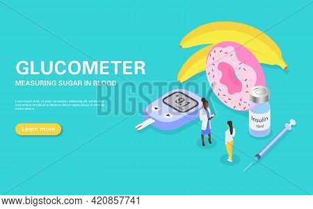 Concept Banner For Measuring Blood Sugar With A Glucometer. Diabetes Treatment And Diet. The Doctor