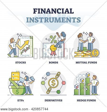 Financial Instruments Types For Money Making And Banking Outline Collection Set. Wealth Tools And In