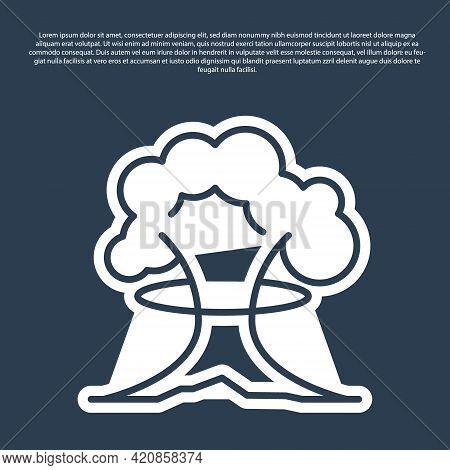 Blue Line Nuclear Explosion Icon Isolated On Blue Background. Atomic Bomb. Symbol Of Nuclear War, En