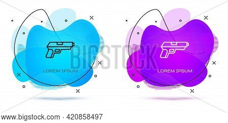Line Pistol Or Gun Icon Isolated On White Background. Police Or Military Handgun. Small Firearm. Abs