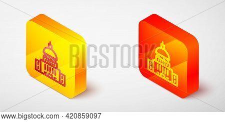 Isometric Line White House Icon Isolated On Grey Background. Washington Dc. Yellow And Orange Square