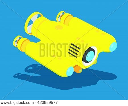 Yellow Autonomous Underwater Robot Drone For Seabed Exploration And Deep Sea Video Filming. Cartoon