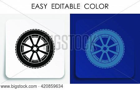 Wheel With Tire And Rubber Treadicon On Paper Square Sticker With Shadow. Brake Pads, Car Parts. Dri