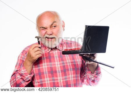 Fashion Model. Razor Blade Or Shaver. Shaving Accessories. Unshaven Old Man Shave Moustache And Bear