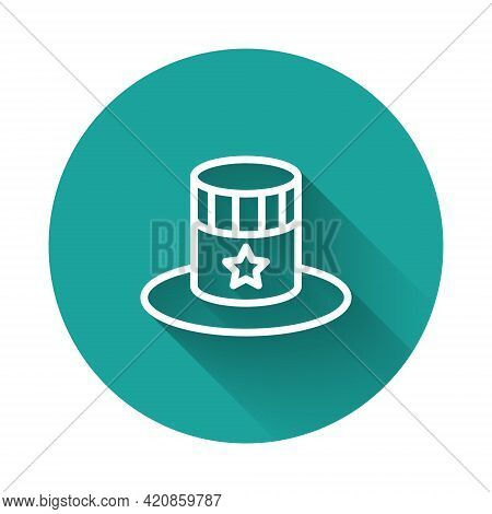 White Line Patriotic American Top Hat Icon Isolated With Long Shadow Background. Uncle Sam Hat. Amer