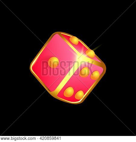 Pink And Gold Glowing Dice On Black Background