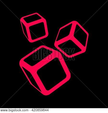 Pink Dice On Black . Flat Style Icons