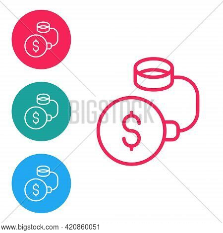 Red Line Debt Ball Chained To Dollar Coin Icon Isolated On White Background. Big Heavy Debt Weight W