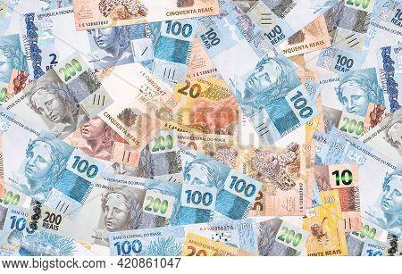 Brazilian Reais, Different Money Notes, 100, 50, 20 And 10 Reais. Texture Background, Brazilian Econ