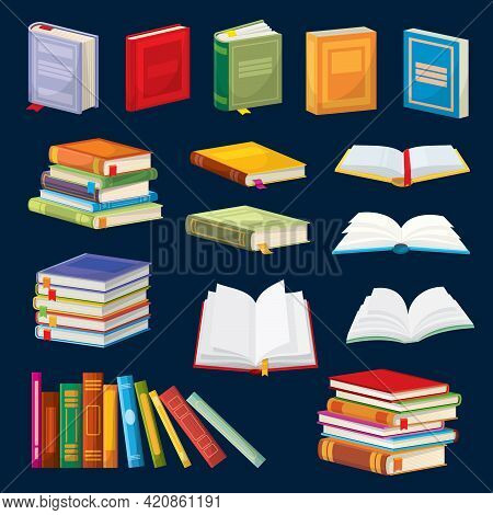 Cartoon Books, Bestsellers, School Textbooks Vector Set. Closed And Open Dictionaries With Colorful