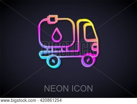 Glowing Neon Line Fuel Tanker Truck Icon Isolated On Black Background. Gasoline Tanker. Vector