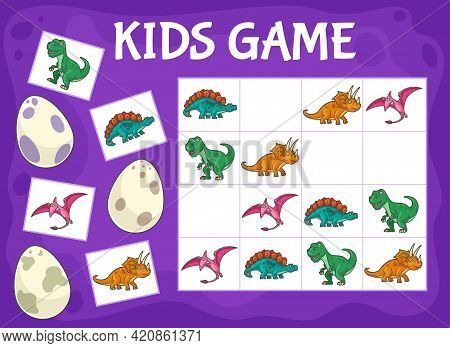 Sudoku Kids Game With Cartoon Dinosaurs. Logical Game, Educational Puzzle Or Rebus, Kids Crossword W