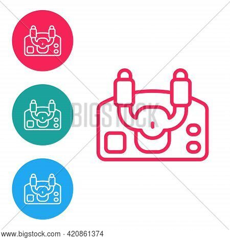 Red Line Aircraft Steering Helm Icon Isolated On White Background. Aircraft Control Wheel. Set Icons