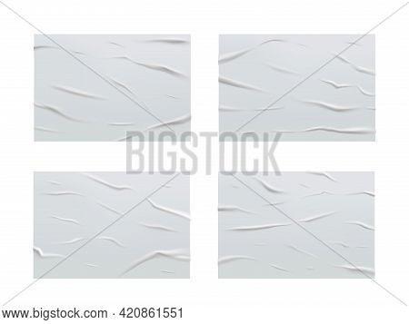 White Glued Wet Paper, Wrinkled Texture, Crumpled Sheets. Vector Creased Posters With Corrugation, B