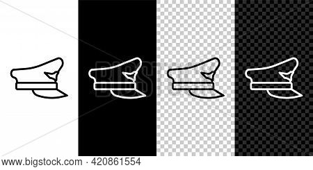 Set Line Pilot Hat Icon Isolated On Black And White, Transparent Background. Vector
