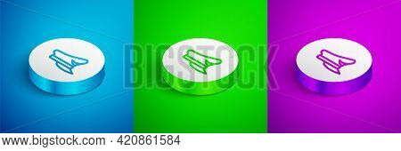 Isometric Line Pilot Hat Icon Isolated On Blue, Green And Purple Background. White Circle Button. Ve