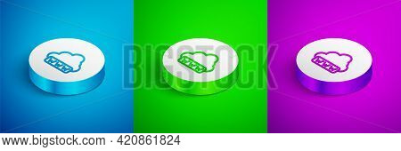 Isometric Line Software, Web Development, Programming Concept Icon Isolated On Blue, Green And Purpl