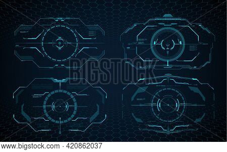 Hud Aim Control Frame Interface, Futuristic Target Screen. Vector Ski-fi Monitor Military Optical Ai