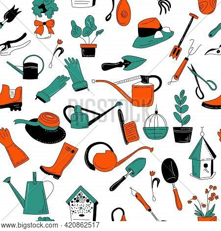 Gardening Equipment And Tools Seamless Pattern In Doodle Style. Hand Drawn Set On White Background F