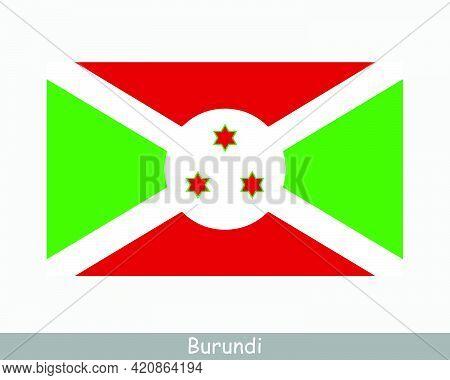 National Flag Of Burundi. Burundian Country Flag. Republic Of Burundi Detailed Banner. Eps Vector Il