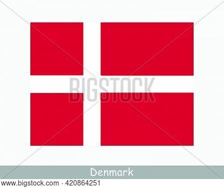 National Flag Of Denmark. Danish Country Flag. Kingdom Of Denmark Detailed Banner. Eps Vector Illust