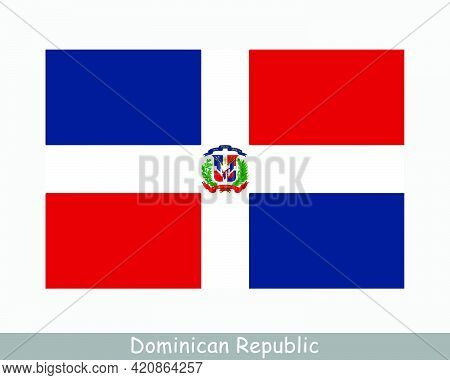 National Flag Of The Dominican Republic. Dominican Republic Country Flag Detailed Banner. Eps Vector