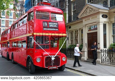 London, Uk - July 9, 2016: Historical Routemaster Double Decker Bus Hired For A Wedding In London, U