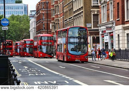 London, Uk - July 9, 2016: People Ride A Double Decker Buses At Bloomsbury, London, Uk. Transport Fo