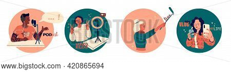 Set Of Vector Illustrations Of Blogging Concept. Happy Blogger Day. Various Characters Or Bloggers C