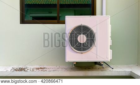 Air Compressor, Close-up External Split Wall Type Of Outdoor Home Air Conditioner Compressor Unit In