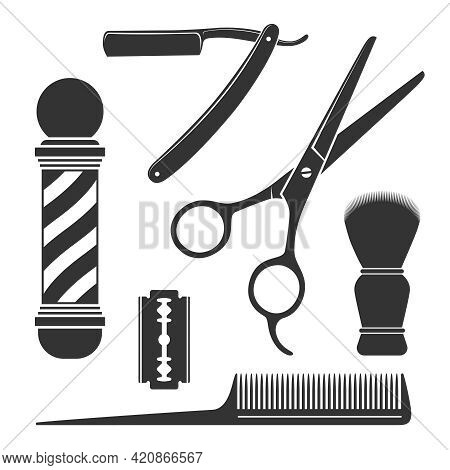 Barbershop Symbols. Barber Tools Graphic Icon Set. Scissors, Straight Razor, Comb, Shaving Brush, Bl