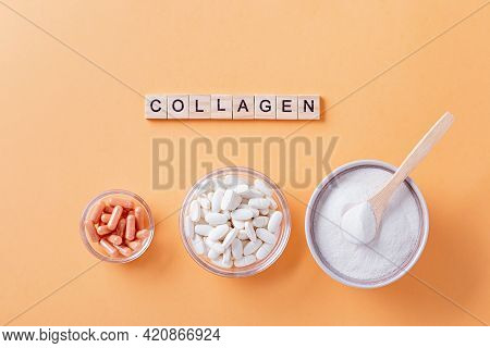 Different Types Of Collagen For Skin Care Flat Lay With Collagen Quote Made Of Wooden Blocks