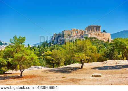 Acropolis hill in Athens in Greece. Landscape