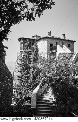 Monasteries of Meteora in Greece. Rousanou nunnery. Black and white photography, landscape